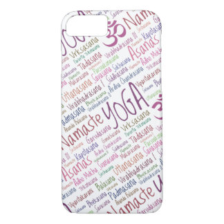 Elegant Purple Yoga Positions Word Cloud Pattern iPhone 8/7 Case