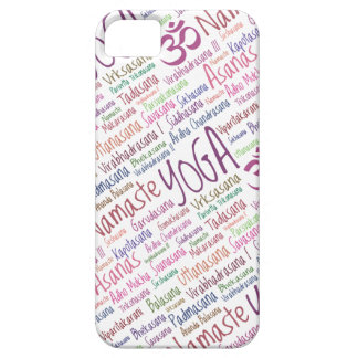 Elegant Purple Yoga Positions Word Cloud Pattern iPhone SE/5/5s Case