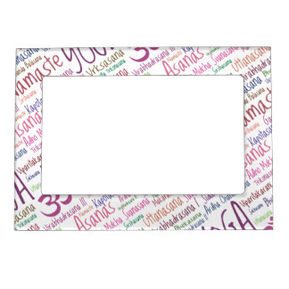Elegant Purple Yoga Positions Word Cloud Pattern Magnetic Picture Frame