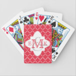 """Elegant Quatrefoil Monogram - Red White Bicycle Playing Cards<br><div class=""""desc"""">Elegant quatrefoil style available in a variety of colors. Shown here in red and white. This design includes the option to add your initial(s) to personalize. Note that if you click &quot;customize, &quot; you can change the background color to an infinite number of colors to create your own unique look....</div>"""