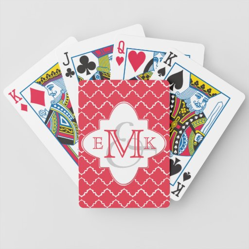 Elegant Quatrefoil Monogram - Red White Poker Deck