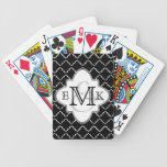 """Elegant Quatrefoil Pattern - Black White Bicycle Playing Cards<br><div class=""""desc"""">Elegant quatrefoil style available in a variety of colors.  This design includes the option to add your initial(s) to personalize.  Note that if you click &quot;customize, &quot; you can change the background color to an infinite number of colors to create your own unique look.</div>"""