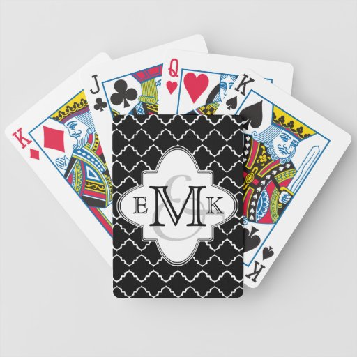 Elegant Quatrefoil Pattern - Black White Bicycle Card Deck