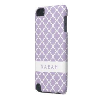 Elegant Quatrefoil Pattern Chic Purple Monogram iPod Touch 5G Cases