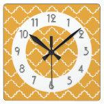 Elegant Quatrefoil Pattern - Gold White Square Wall Clock