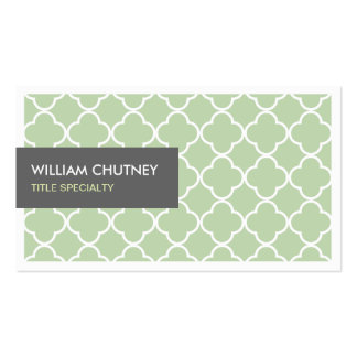 Elegant Quatrefoil Pattern in Chic Lime Green Business Card Templates