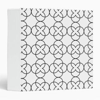 Elegant Quatrefoil Tiled Pattern-Black and White 3 Ring Binders