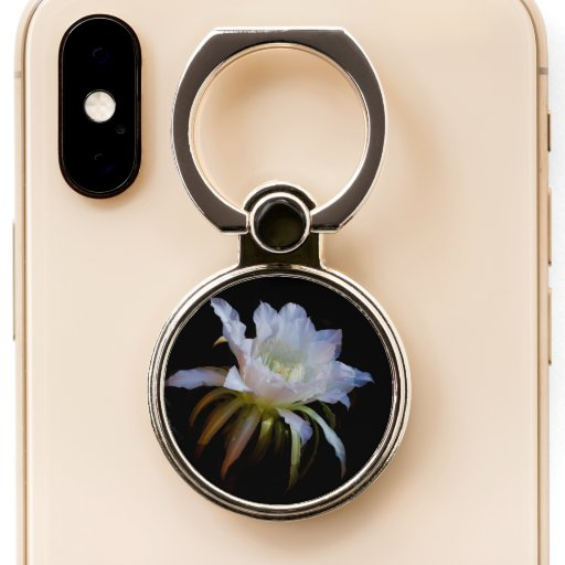 Elegant Queen-of-the Night Cactus flower Phone Ring Stand