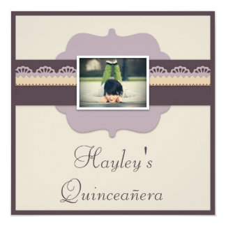 Elegant Quinceañera Birthday Party Add Your Photo Personalized Announcements