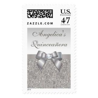 Elegant Quinceañera Faux Silver Sequins Bow Postage