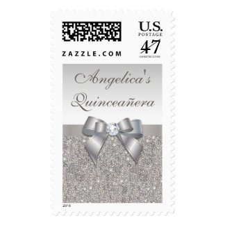 Elegant Quinceañera Faux Silver Sequins Bow Postage Stamp