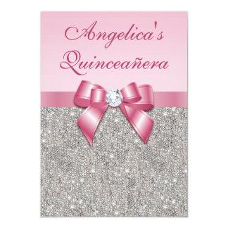 Elegant Quinceañera Faux Silver Sequins Pink Bow Card