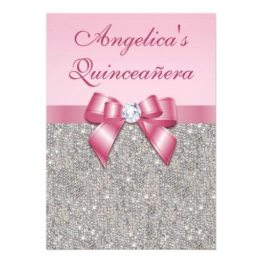 Elegant Quinceañera Faux Silver Sequins Pink Bow Personalized Announcement