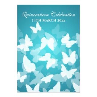 Elegant Quinceañera Party Butterflies Blue Card