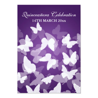 Elegant Quinceañera Party Butterflies Purple Card