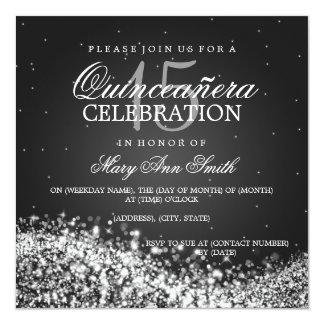 Elegant Quinceanera Party Sparkling Wave 2 Black Card