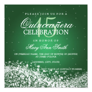 Elegant Quinceanera Party Sparkling Wave 2 Green Card