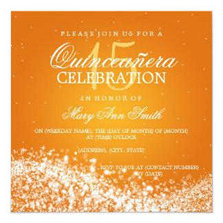 Elegant Quinceanera Party Sparkling Wave 2 Orange Invitation