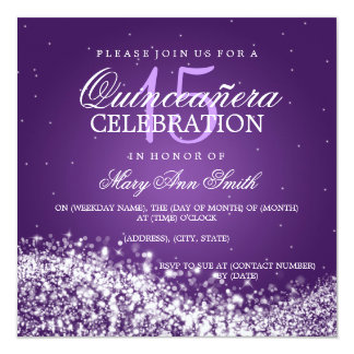 Elegant Quinceanera Party Sparkling Wave 2 Purple Card