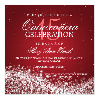 Elegant Quinceanera Party Sparkling Wave 2 Red Card