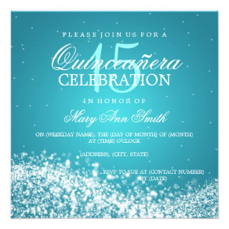 Elegant Quinceanera Party Sparkling Wave 2 Turquoi Custom Invitations