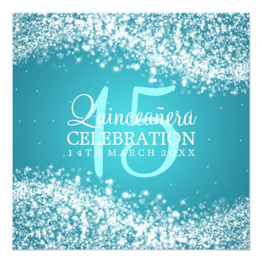 Elegant Quinceanera Party Sparkling Wave 2 Turquoi Custom Invitations (back side)