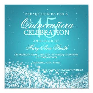 Elegant Quinceanera Party Sparkling Wave 2 Turquoi 5.25x5.25 Square Paper Invitation Card