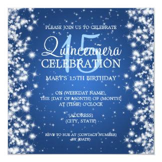 Elegant  Quinceañera Party Winter Sparkle 2 Blue Card