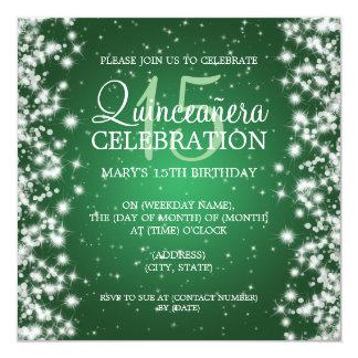 Elegant  Quinceañera Party Winter Sparkle 2 Green Card