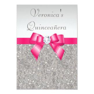Elegant Quinceañera Silver Sequins Hot Pink Bow Card