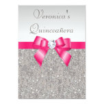 Elegant Quinceañera Silver Sequins Hot Pink Bow Personalized Invite