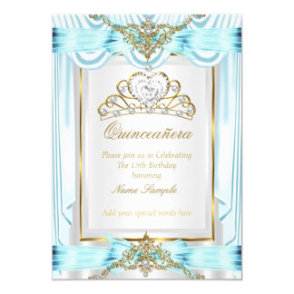 Elegant Quinceanera Teal Blue Gold Silver White Card