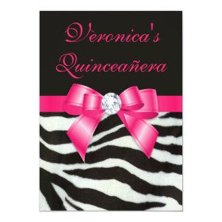 Elegant Quinceañera Zebra Stripes Hot Pink Bow Card