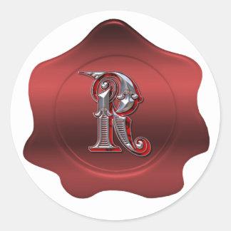 Elegant R Monogram Red Wax Seal Look Sticker