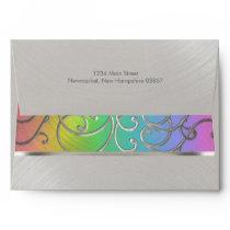 Elegant Rainbow and Silver Filigree Envelope