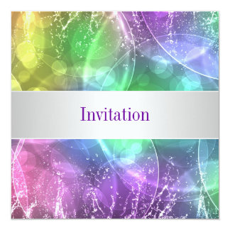 Elegant Rainbow Bubbles 12 Special Birthday Event 5.25x5.25 Square Paper Invitation Card