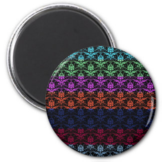 Elegant Rainbow Colorful Damask Fading Colors 2 Inch Round Magnet