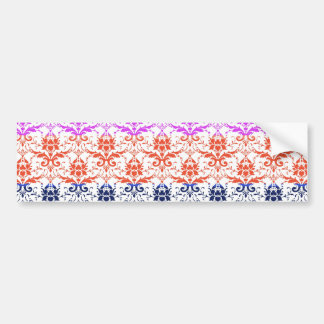 Elegant Rainbow Colorful Damask Fading Colors Bumper Sticker