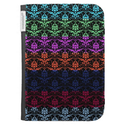 Elegant Rainbow Colorful Damask Fading Colors Cases For Kindle