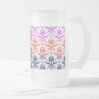 Elegant Rainbow Colorful Damask Fading Colors Frosted Glass Beer Mug