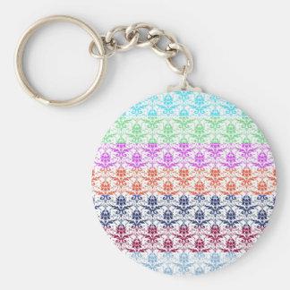 Elegant Rainbow Colorful Damask Fading Colors Keychains