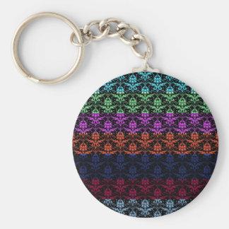 Elegant Rainbow Colorful Damask Fading Colors Key Chains
