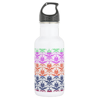 Elegant Rainbow Colorful Damask Fading Colors 18oz Water Bottle