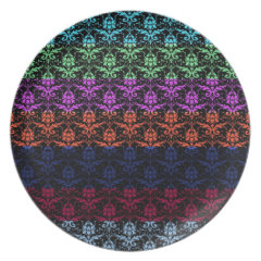 Elegant Rainbow Colorful Damask Fading Colors Dinner Plate