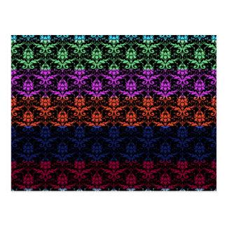 Elegant Rainbow Colorful Damask Fading Colors Postcard