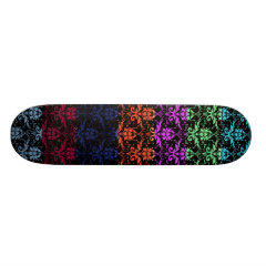 Elegant Rainbow Colorful Damask Fading Colors Skateboard