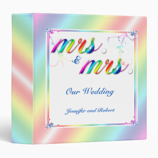Elegant Rainbow Floral Gay Wedding Binder