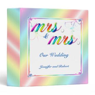 Elegant Rainbow Floral Gay Wedding Binder