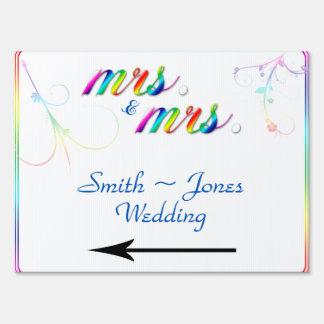 Elegant Rainbow Floral Gay Wedding Direction Sign