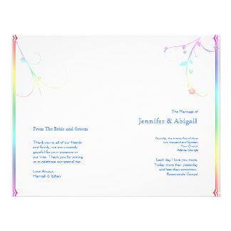 Elegant Rainbow Floral Gay Wedding Program
